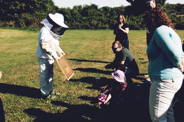 Learning about beekeeping at Prescott Farm Middletown RI