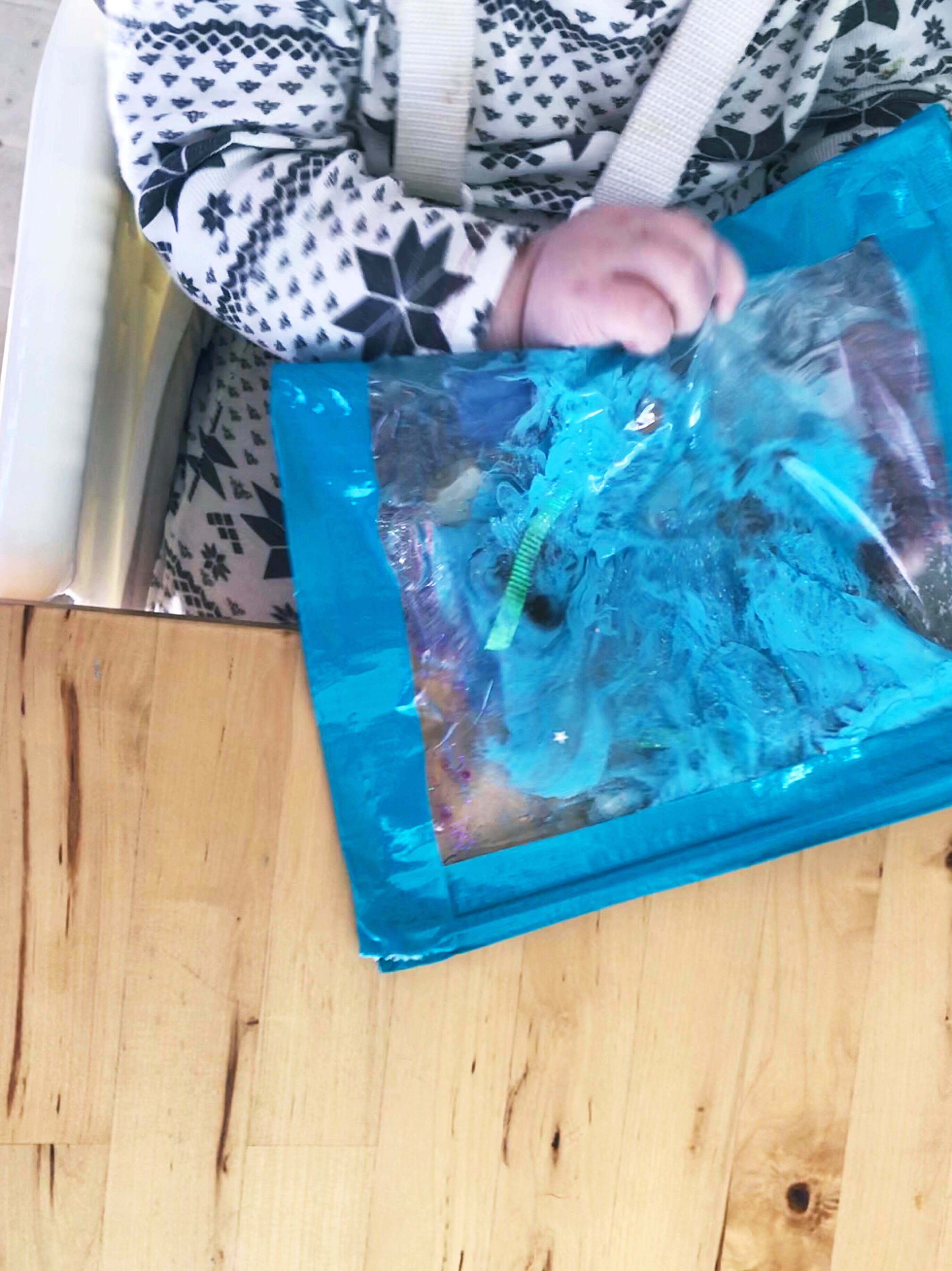 An Ocean Themed Sensory Bag Idea for Babies - Here's a great craft to bring a little bit of the outdoors inside on a cold winter's day!
